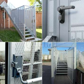 Burglar-resistant options for outside stairs: security paneling, door with panic bar, gate, lock handle, keycode handle etc.