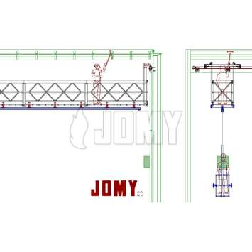 CAD drawing of a mobile walkway gantry with suspended cradle - Building Maintenance Unit