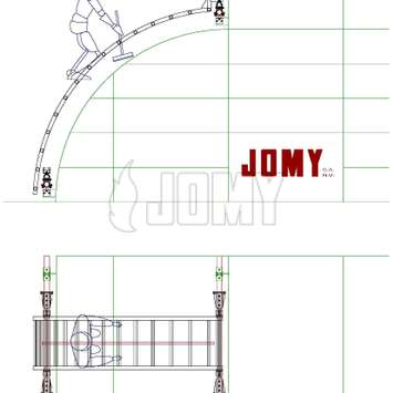 CAD drawing of mobile curved stairs - Building Maintenance Unit