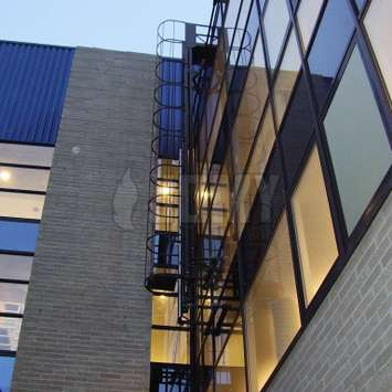 Cage ladder for window cleaning and facade access - Building Maintenance Unit