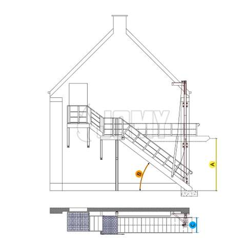 Counterbalanced stairs with cable and pulley system - key measurements.