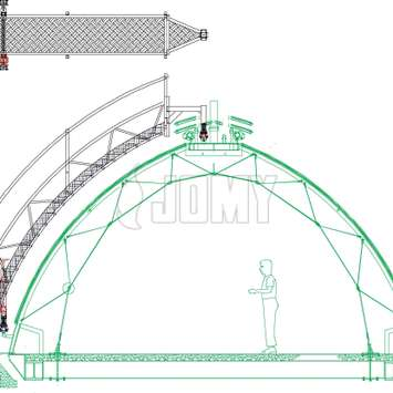 Drawing for a facade access installation on a dome