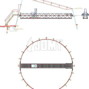 Drawing of workplatform with telescopic gantry