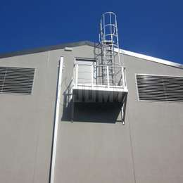 Retractable ladder, balcony and cage ladder for roof access