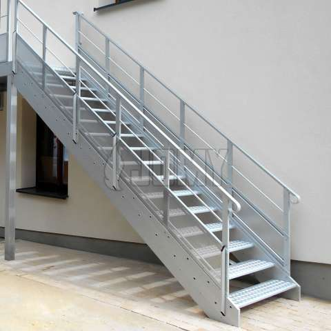 Aluminium stairs made for egress and access and placed outside of a medium sized building.