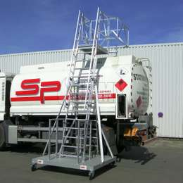 Mobile ladder and platform for accessing truck loads -tanker trucks and manholes.