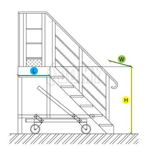Mobile industrial stairs and platform - dimensions.