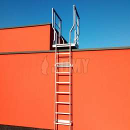 Fixed ladder with landing platform for a flat roof