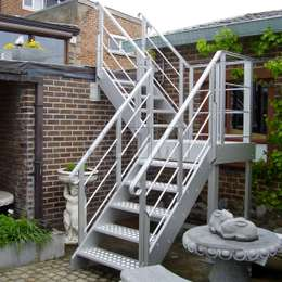 Aluminium exterior stairs to access a flat roof terrace