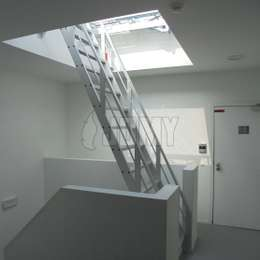 Aluminium ship ladder used to access a flat roof via a Velux light dome.