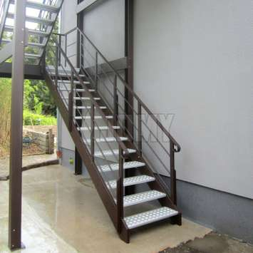 Stair guardrail with parallel tubes.