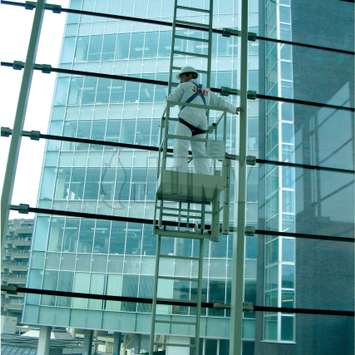 Vertical mobile hanging ladder and platform for window cleaning.