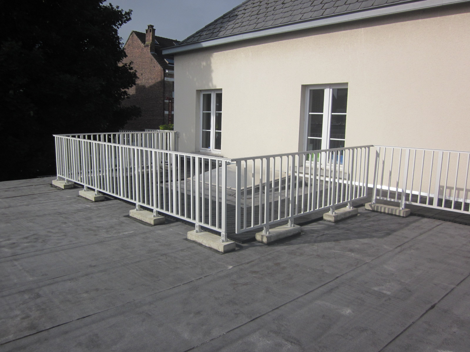 Aluminum handrails on a roof
